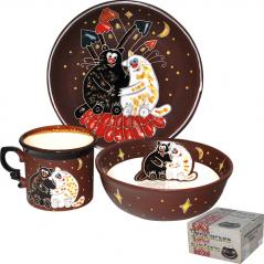 531049 Набор детский Толстые коты, 3 пр. (чашка-280мл, пиала-500мл, тарелка-19,5см)