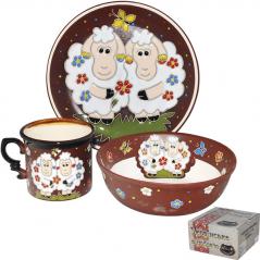 531045 Набор детский Овечки, 3 пр. (чашка-280мл, пиала-500мл, тарелка-19,5см)
