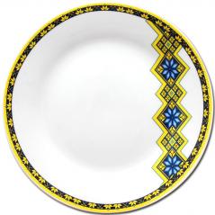 30001-006 Тарелка 8 'Вышиванка желто-голубой ромб