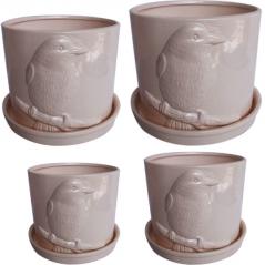 647-010 Set of flower pots Birdy (4 pieces)