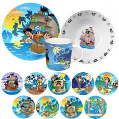 5135 Набор детский 3пр. (тарелка-19см, чашка-250мл, салатник-600мл) Пираты