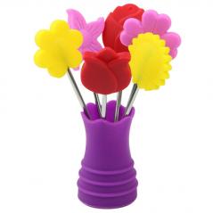 20114 набор вилочек коктейльных <a href='http://snt.od.ua/ru/poisk.html?q=Цветы' />Цветы</a> (длина-9см)