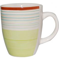 6118 Чашка 360мл Полоска зеленая