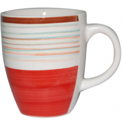 6119 Чашка 360мл Полоска красная