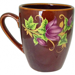 50198 Чашка Европа коричневая с деколью 400мл
