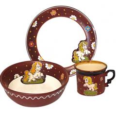 531070 Набор детский Пони, 3 пр. (чашка-280мл, пиала-500мл, тарелка-19,5см)