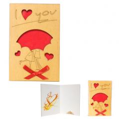 95402-03 Открытка I LOVE YOU Пара под зонтиком,каштан 95*145мм