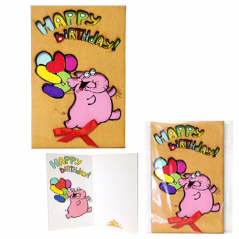95403-15 Открытка HAPPY BIRTHDAY Слоник розовый,каштан 95*145мм