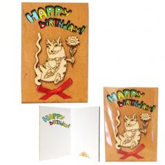 95403-10 Открытка HAPPY BIRTHDAY Кот с галстуком 2х слойная,коричневая 95*145мм