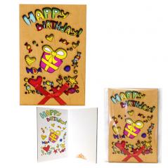 95403-13 Открытка HAPPY BIRTHDAY Подарки,каштан 95*145мм