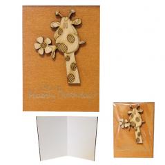95405-03 Мини-открытка HAPPY BIRTHDAY Жираф,95*70мм,коричневая