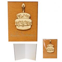 95405-08 Мини-открытка HAPPY BIRTHDAY Торт,95*70мм,коричневая