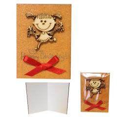 95405-02 Мини-открытка HAPPY BIRTHDAY Девочка,95*70мм,коричневая