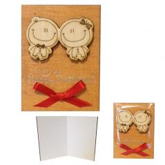 95405-05 Мини-открытка HAPPY BIRTHDAY Малыши,95*70мм,коричневая