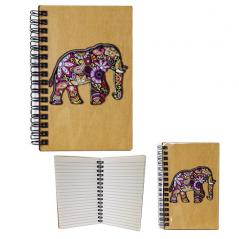 95400-09 Блокнот с гравировкой Слон Цветной+Вышивка формат 95*144мм,50листов\линия