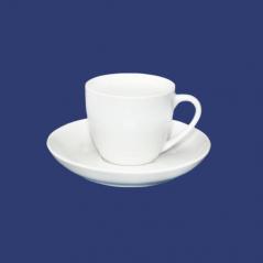 13629 Чашка з блюдцем біла Хорека (чашка-100мл, блюдце-12см)