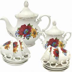 50761 Набор чайный 14пр. Полевой мак (чашка-200мл;чайник-700мл; сахарн.-500мл;блюдце-14.5см)