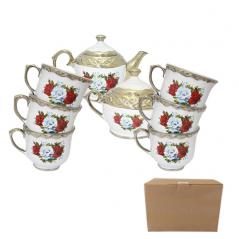 50741-02 Набор чайный 8пр. белый деколь (чашка-250мл;сахарница-700мл; чайник-1,1л)
