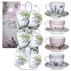 1520 Сервиз чайный 12 пр. на стойке Цветы микс3 (200мл,d13,5см)