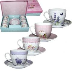 1438 Сервиз чайный 12пр. Цветы микс3 (200мл,d13,5см)