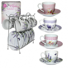 1042 Coffee service 12pr. Flowers at the front mix 3 (80 mL, d11sm)
