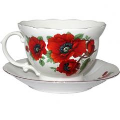 50775 Чашка с блюдцем <a href='http://snt.od.ua/ru/poisk.html?q=Мак' />Мак</a> (чашка-540мл,блюдце-18см)