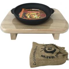 99000-3 Сковорода чугунная литая с  деревянной подставкой на ножках 18см, h-2,5 см