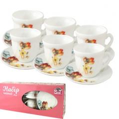 30055-1068 Набор чайный 12пр.(чашка-190мл, блюдце-14см)   Радужный мак