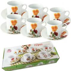 55626 Набор чайный 12 пр. Оранжевый мак (чашка-250мл, блюдце-16см)
