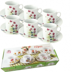 55627 Набор чайный 12 пр. Розовый цветок (чашка-250мл, блюдце-16см)