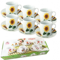 55628 Набор чайный 12 пр. Подсолнухи (чашка-250мл, блюдце-16см)