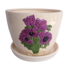 647-005/3 Горшок Пурпурные цветы 12,5*10,5