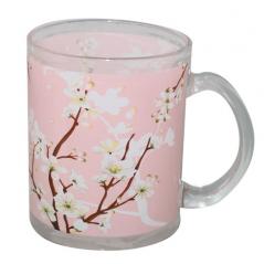 930 Чашка стеклянная 325мл. с рисунком (Цветущая сакура)