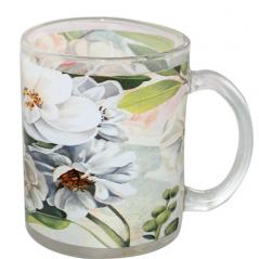 930 Чашка стеклянная 325мл. с рисунком (Цветущая яблоня)