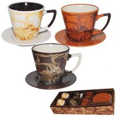 1517-04 Сервиз чайный 12пр. чашка 200мл, блюдце 12см Узор