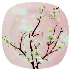 3716 Тарелка квадратная 10- 25 см (Цветущая сакура)