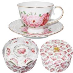 1721 Набор чайный 12пр. 'Цветочное кружево' (чашка-230мл,блюдце-15см)