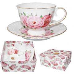 1720 Набор чайный 2пр. 'Цветочное кружево' (чашка-230мл,блюдце-15см)