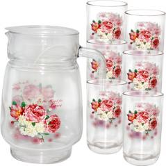 904-02 Набор для сока Розовая роза  (кувшин-1,7л; стакан-250мл)