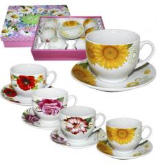 023-12-02 Сервиз чайный 12пр. Цветы Микс1 (чашка-220мл, блюдце-13,5см)