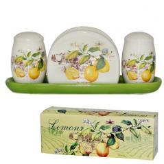 6912-7 Набор для соли и перца с салфетницей на керам.подставке '<a href='http://snt.od.ua/ru/poisk.html?q=Лимон' />Лимон</a>'
