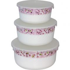 30053-15017 Набор салатников с крышкой 3шт (7,5' ,6,5' , 5,5' )  Цветение сакуры