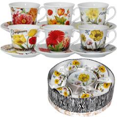 151-04 Сервиз чайный 12пр. 'Цветы' микс2 (250мл, d14см)