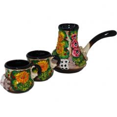 50785 Набор кофейный Турка маленькая цветная лепка (турка-270мл, чашка-130мл)