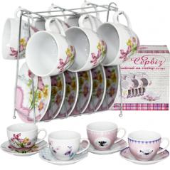1460 tea service 12pr. rack 'Flowers' miks4