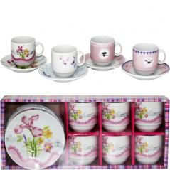 1454 Сервиз кофейный 12пр.  '<a href='http://snt.od.ua/ru/poisk.html?q=Цветы' />Цветы</a>' микс4 (чашка-80мл, блюдце-11см)