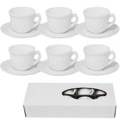 30082-00 Набор кофейный Белый (чашка-100мл, блюдце-11см) D1
