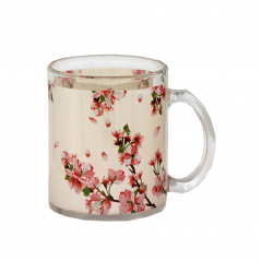 930 Чашка стеклянная 325мл. с рисунком (Цветущая вишня)