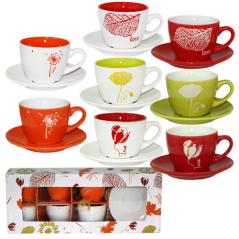 1517-09 Сервиз чайный 12пр. 'Цветы микс' (чашка-240мл, блюдце-14,5см)
