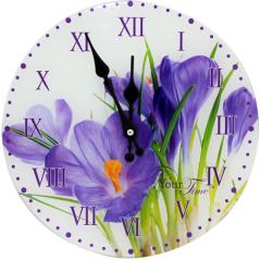 01-376 Часы настенные стекло/кругл. 28 см Цветы